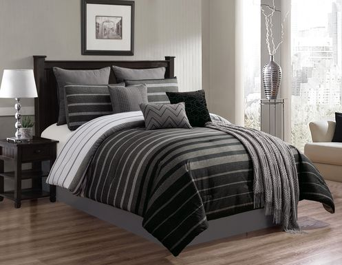 Lyndee Black 10 Pc King Comforter Set