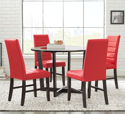 Mabry Espresso 5 Pc Dining Set with Red Chairs