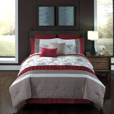 Mahaley Red 8 Pc King Comforter Set