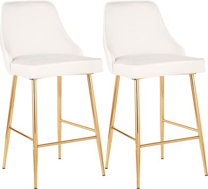 Mairie White Plush Gold Metal Counter Height Stool, Set of 2