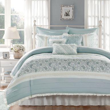 Malia Blue 9 Pc Queen Comforter Set