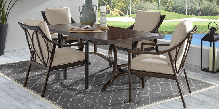 Manchester Hill Antique Bronze 7 Pc Rectangle Outdoor Dining Set