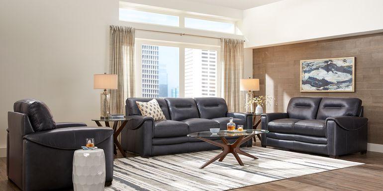 Blue Leather Living Room Furniture Sets