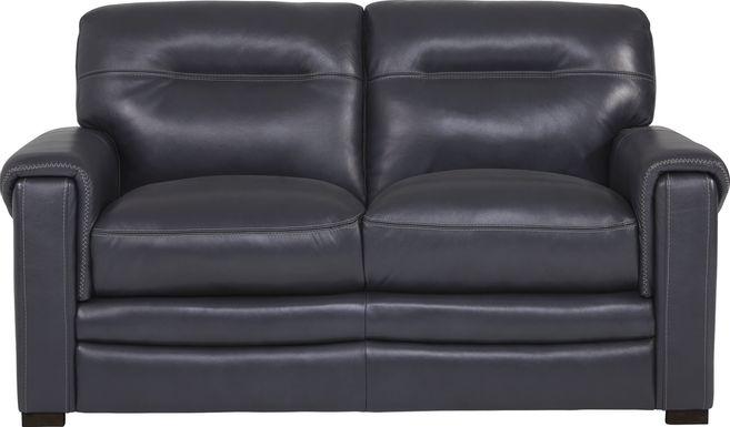 Margallo Blue Leather Loveseat