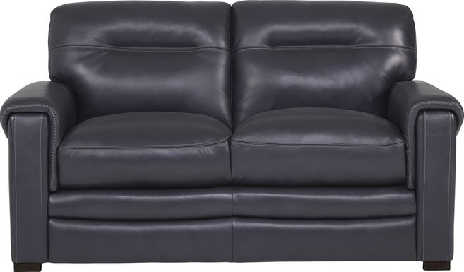 Margallo Blue Leather Loveseat