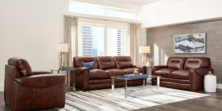 Margallo Brown Leather 3 Pc Living Room