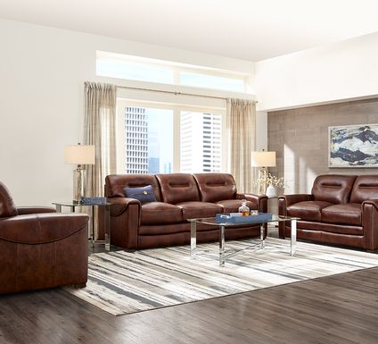 Margallo Brown Leather 5 Pc Living Room