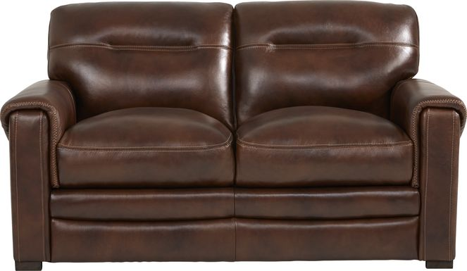 Margallo Brown Leather Loveseat