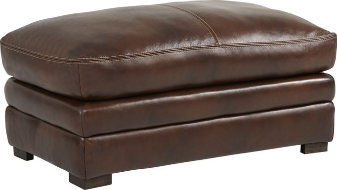Margallo Brown Leather Ottoman