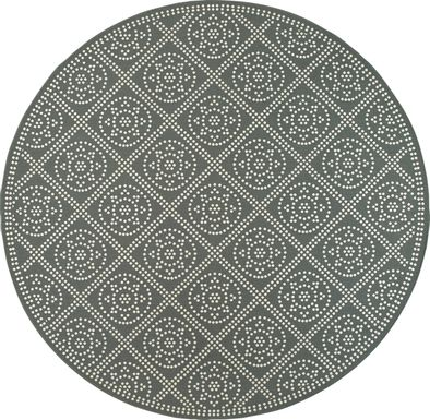 Marlfield Gray 7'10 Round Indoor/Outdoor Rug