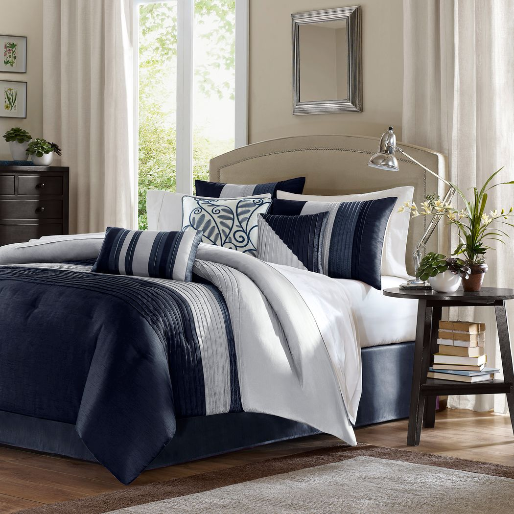 Maryn Navy 7 Pc California King Comforter Set