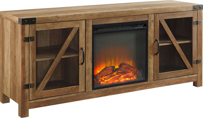 Maytor Barnwood 58 in. Console with Fireplace