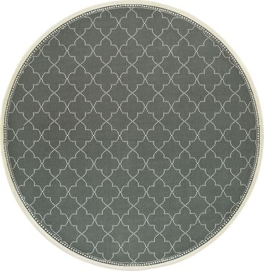 Maziah Gray 7'10 Indoor/Outdoor Round Rug