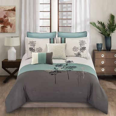 Mearna Blue 8 Pc King Comforter Set