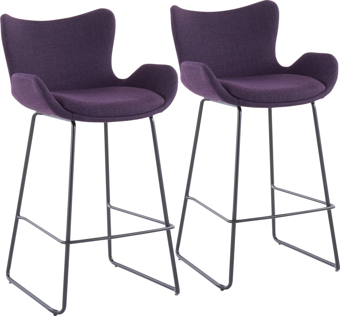 Meinhard Purple Counter Height Stool, Set of 2