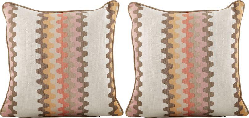 Mella Orange Indoor/Outdoor Accent Pillow, Set of Two
