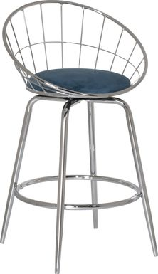 Mercia Blue Swivel Counter Height Stool