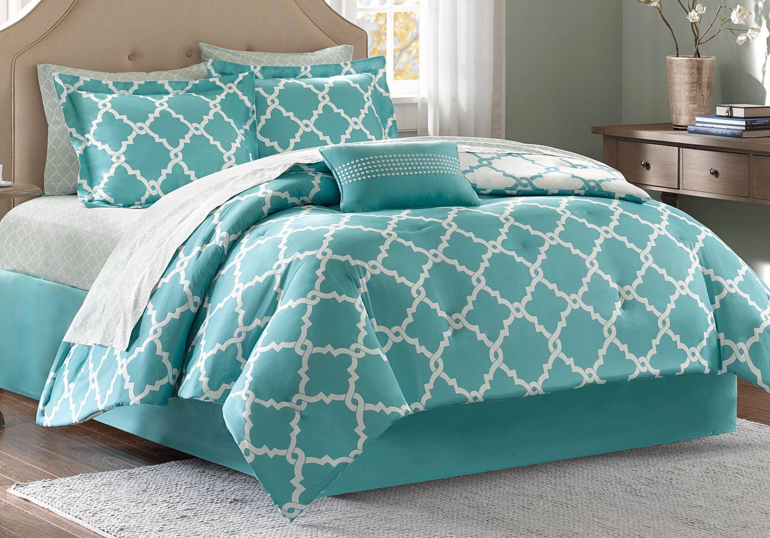 Merritt Aqua 9 Pc Queen Comforter Set