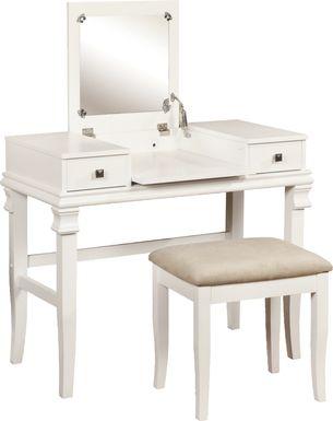 Messana White Vanity, Mirror and Stool Set