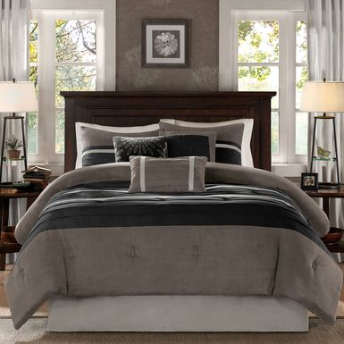 Metina Black 7 Pc King Comforter Set