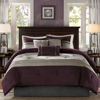 Metina Purple 7 Pc Queen Comforter Set