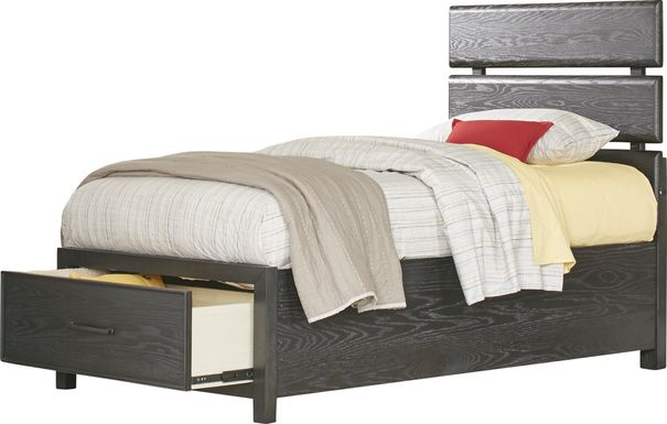Kids Midcity Loft Carbon 3 Pc Twin Slat Bed with Storage
