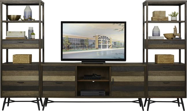 Midtown Loft Brown 3 Pc Wall Unit