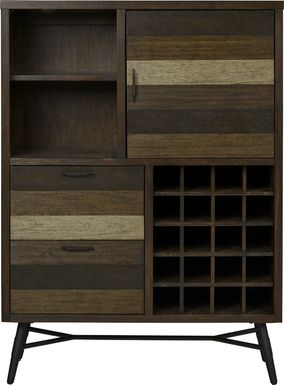 Midtown Loft Brown Wine Cabinet