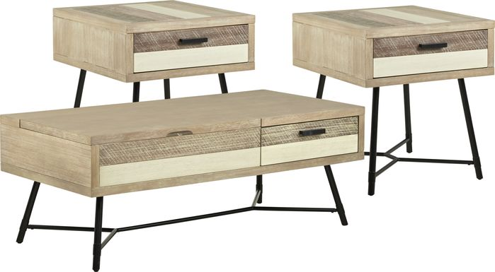 Midtown Loft Natural 3 Pc Table Set