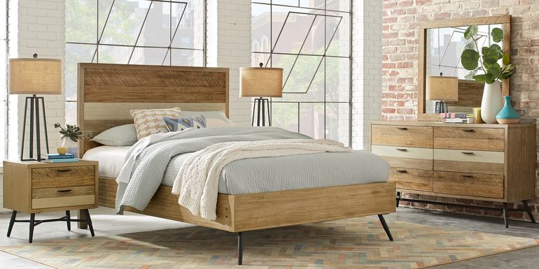 Midtown Loft Natural 5 Pc King Panel Bedroom
