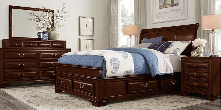 Mill Valley II Cherry 5 Pc Queen Sleigh Bedroom with Storage