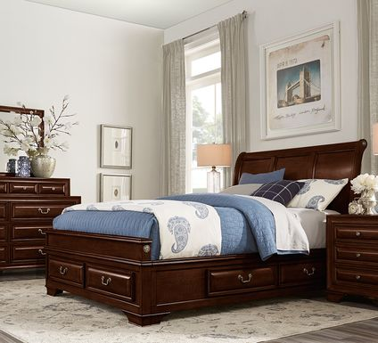Mill Valley II Cherry 7 Pc King Sleigh Bedroom with Storage