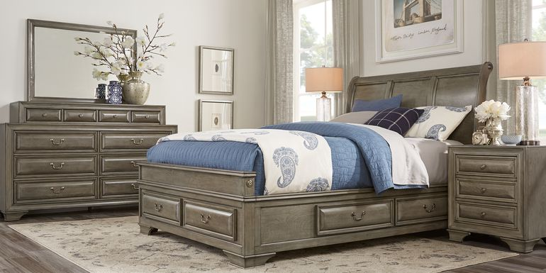 Mill Valley II Gray 7 Pc King Sleigh Bedroom with Storage