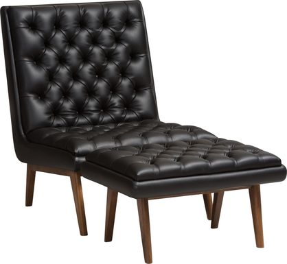 Minneha Black Accent Chair and Ottoman