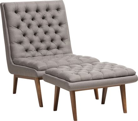 Minneha Gray Accent Chair and Ottoman