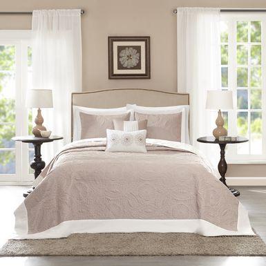 Miral Khaki 5 Pc Queen Bedspread Set