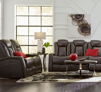 Moretti Brown Leather 3 Pc Living Room with Dual Power Reclining Sofa