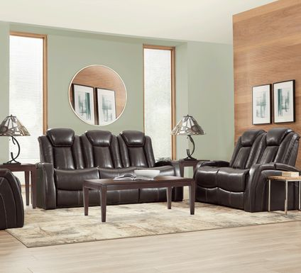 Moretti Brown Leather 5 Pc Living Room with Dual Power Reclining Sofa