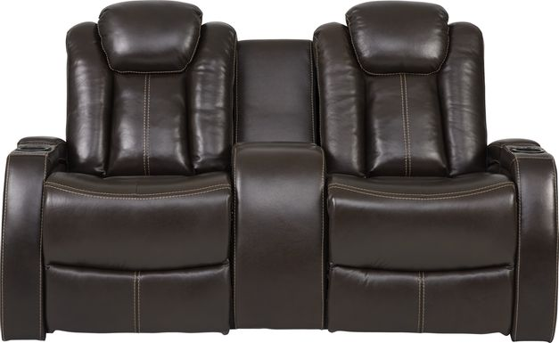 Moretti Brown Leather Dual Power Console Loveseat