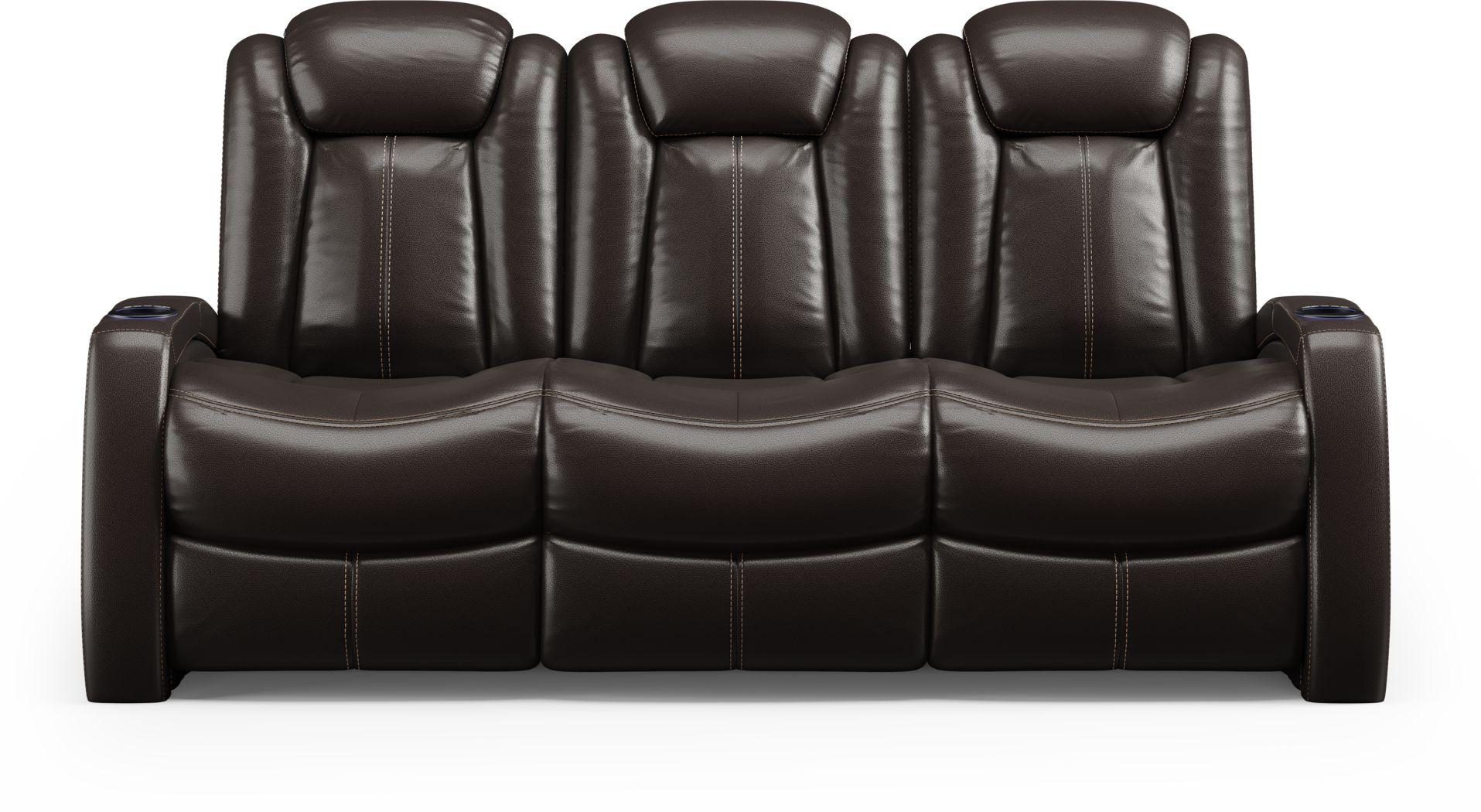 Moretti Brown Leather Dual Power Reclining Sofa