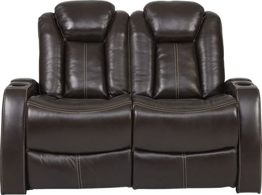 Moretti Brown Leather Stationary Loveseat