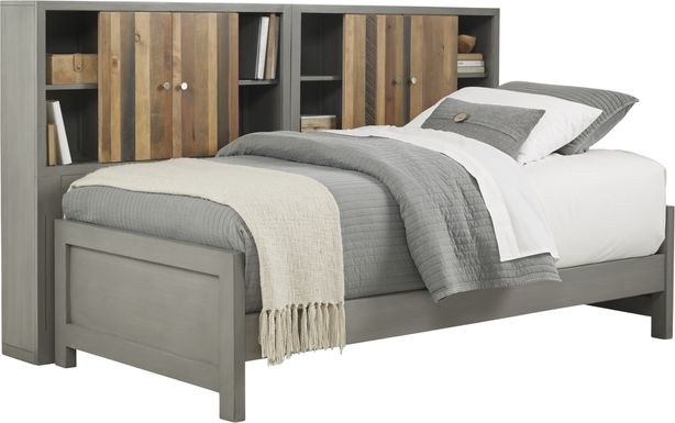 Kids Moss Creek Jr. Gray 5 Pc Twin Bookcase Wall Bed
