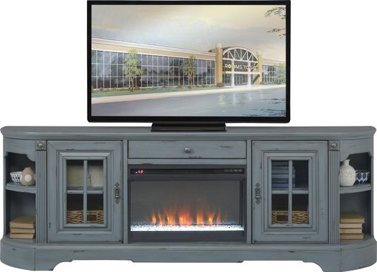 Mountain Bluff II Blue 88 in. Console with Electric Fireplace