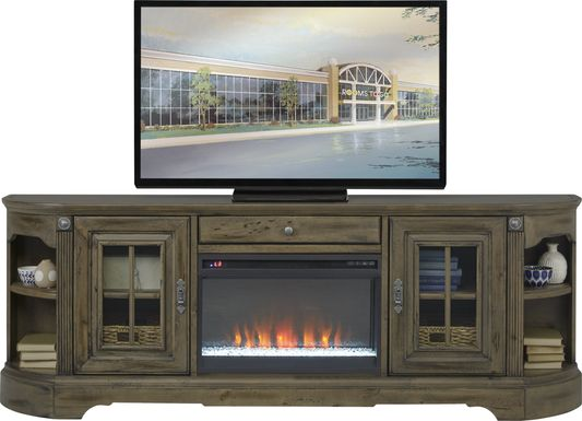 Mountain Bluff II Hickory 88 in. Console with Electric Fireplace