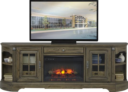 Mountain Bluff II Hickory 88 in. Console with Electric Log Fireplace