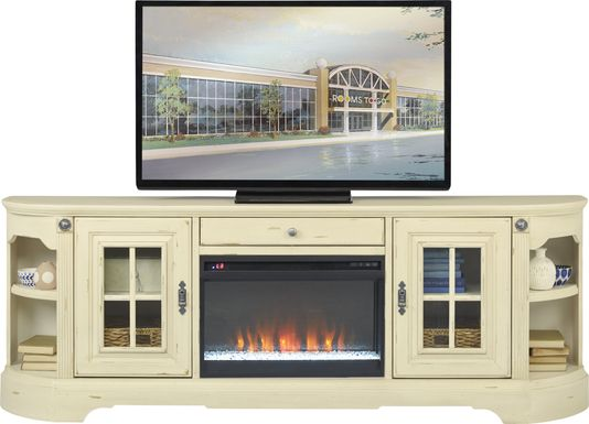 Mountain Bluff II White 88 in. Console with Electric Fireplace
