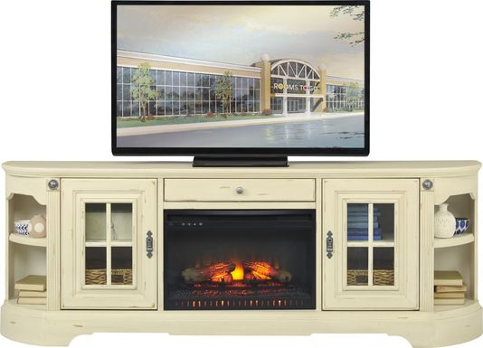 Mountain Bluff II White 88 in. Console with Electric Log Fireplace