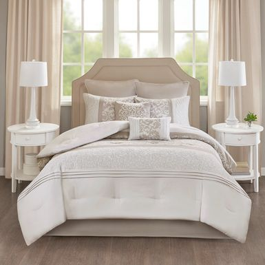 Nalianna Neutral-White 8 Pc Queen Comforter Set