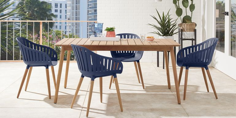 Nassau 5 Pc Rectangle Outdoor Dining Set with Blue Chairs