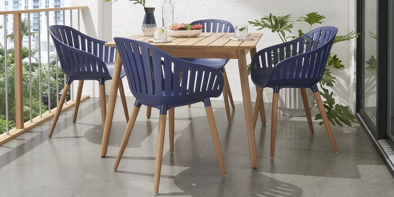 Nassau 5 Pc Square Outdoor Dining Set with Blue Chairs
